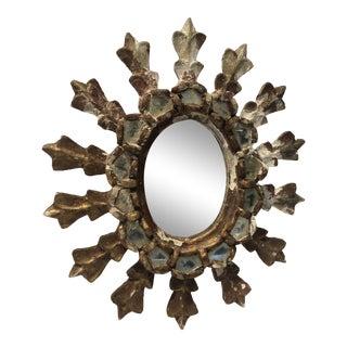 Vintage Rustic European Sunburst Mirror For Sale