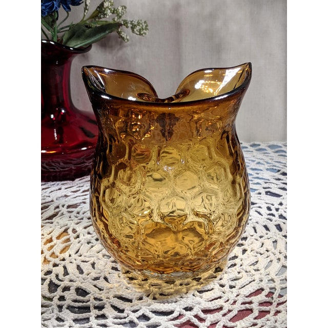 Blown Amber Glass Owl Shaped Candle Holder Vase For Sale - Image 12 of 13
