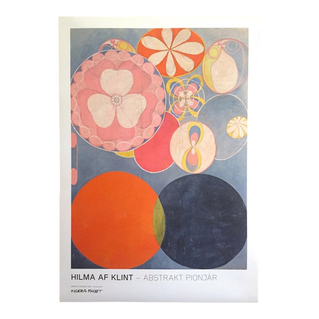 """Hilma Af Klint Swedish Abstract Lithograph Print Moderna Museet Exhibition Poster """" the Ten Largest, Childhood No.2 Group IV """" 1907 For Sale"""