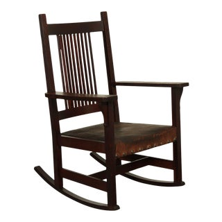 Antique Mission Oak Spindle Back Rocker For Sale