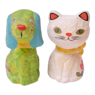 Set of Mid-Century Japanese Paper Mache Dog and Cat Banks For Sale