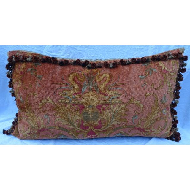 Custom Mohair & Silk Damask Pillow w/ Tassel Fringe by Melissa Levinson For Sale - Image 10 of 10