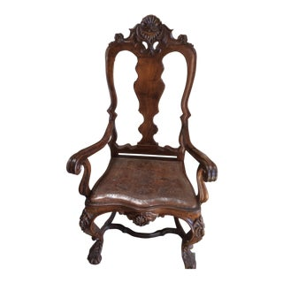 Portuguese Rococo Leather Seat Armchair For Sale