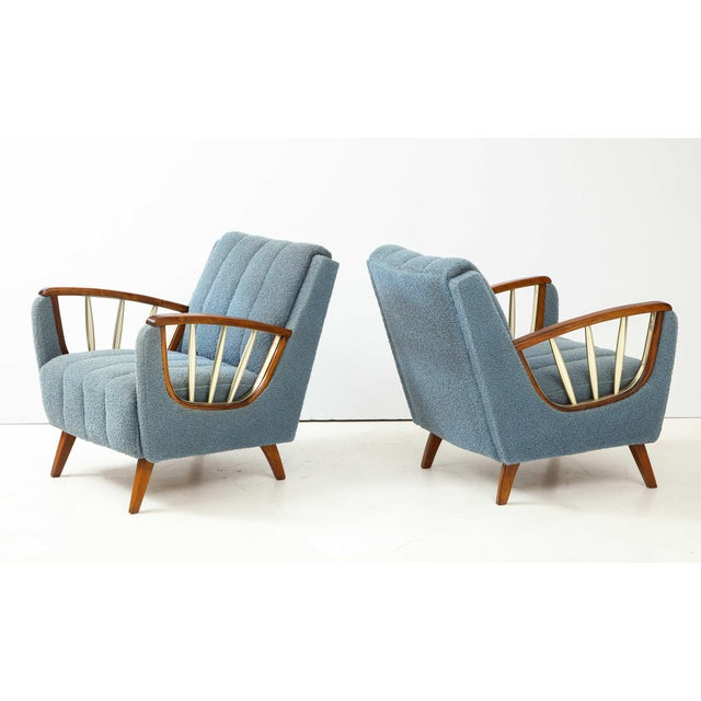 Mid-Century Modern Pair of German 1950's Walnut and Brass Armchairs For Sale - Image 3 of 10