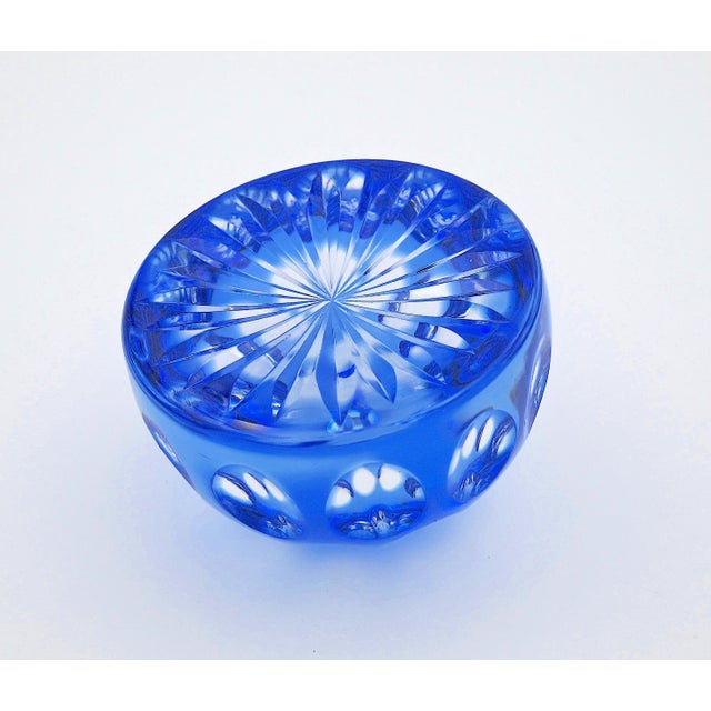 1970s Vintage Blue Crystal Paperweight by Webb Corbett of England For Sale - Image 5 of 12