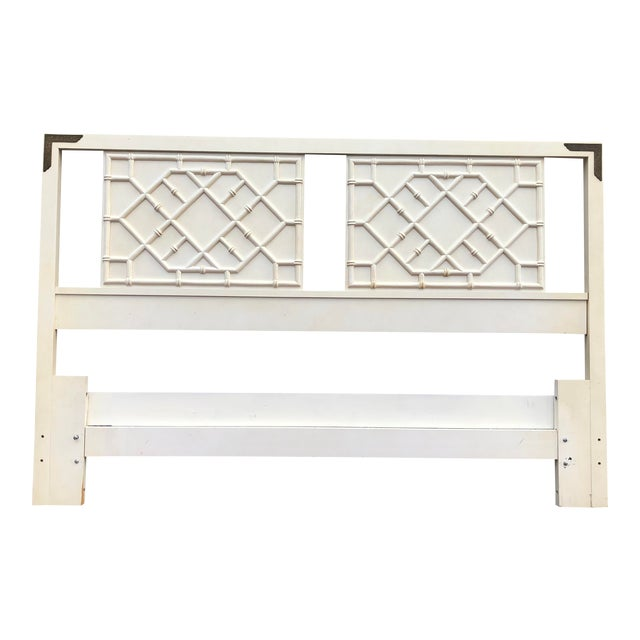 Vintage Hollywood Regency Faux Bamboo Thomasville Huntley Full / Queen Headboard For Sale