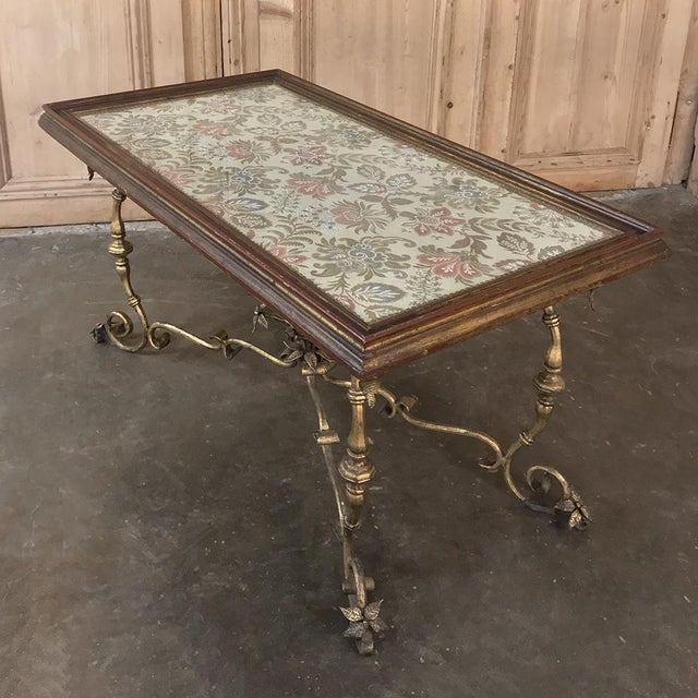 Italian Antique Italian Wrought Iron & Glass Top Coffee Table For Sale - Image 3 of 12