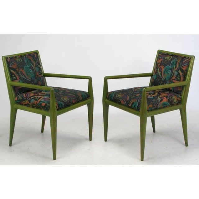 Art Deco Four T.H. Robsjohn-Gibbings Moss Green Walnut Arm Chairs For Sale - Image 3 of 10