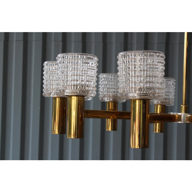 Hollywood Regency 1960s Italian Chandelier With Cut Crystal Shades by Arredoluce Monza For Sale - Image 3 of 7