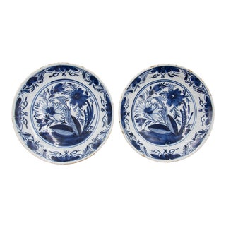 Antique 18th Century Dutch Delft Floral Plates - a Pair For Sale