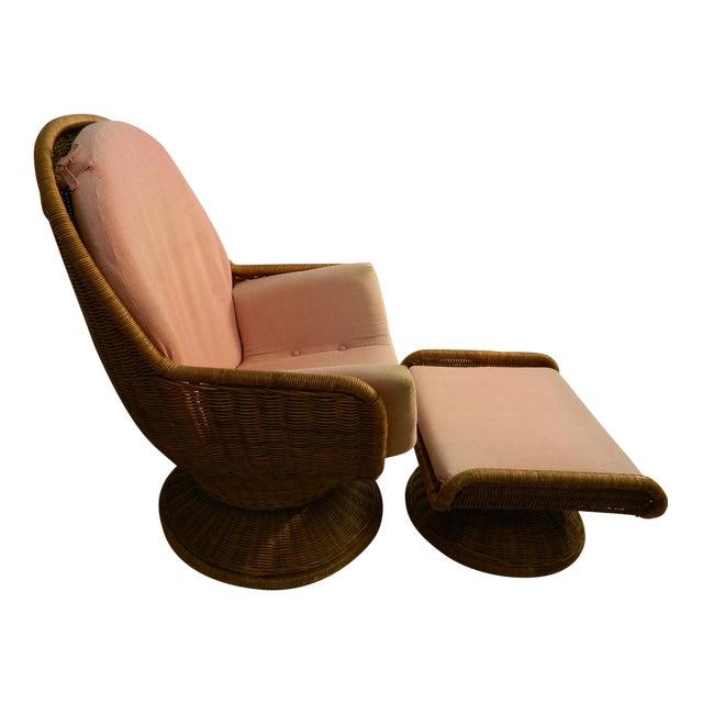Vintage Mid Century Modern Wicker Womb Chair Amp Ottoman