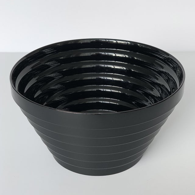 Modernist Italian Stepped Black Glass Bowl For Sale In Chicago - Image 6 of 9