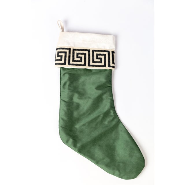 Asian Emerald Silk Greek Key Stocking For Sale - Image 3 of 5