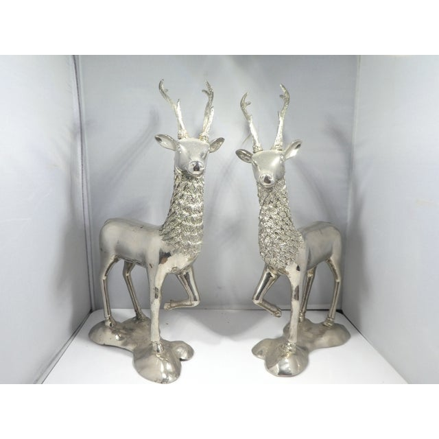 Mid-Century Modern Miniature Silvered Brass Deer Figurines - a Pair For Sale - Image 3 of 12