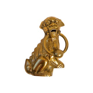 Brass Foo Dog Door Knocker For Sale