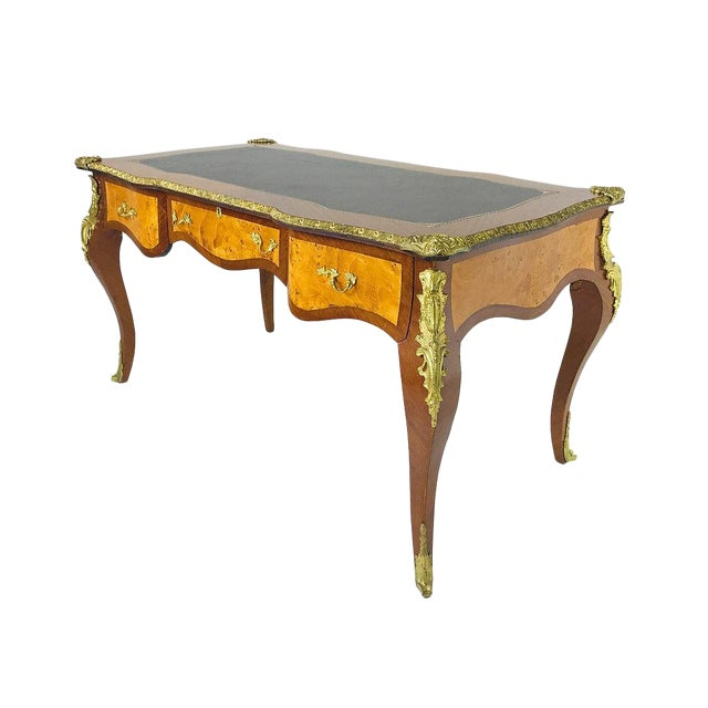 French Ormolu Desk With Burl Wood & Leather Top For Sale