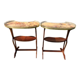 Early 20th Century 2 Tier Marble Top French Style Stands - a Pair For Sale