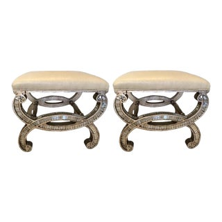 Pair of Contemporary Mirrored Curule Benches For Sale