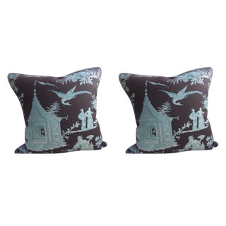 """Quadrille """"Paradise Garden"""" Turqoise on Brown Pillows - a Pair For Sale"""