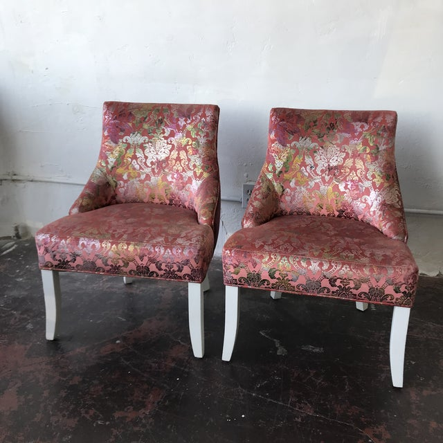 Hollywood Regency Vintage Pink & Rainbow Upholstered Vanity Chairs - a Pair For Sale - Image 3 of 8