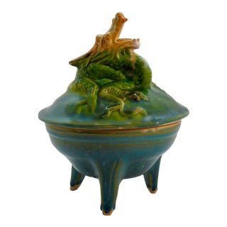 Asian Ceramic Dragon Motif Censer/Incense Burner For Sale