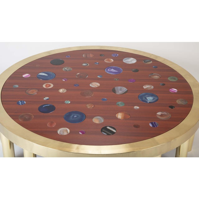 Large Agate Inlaid Sapelle and Brass Coffee Table For Sale - Image 9 of 12