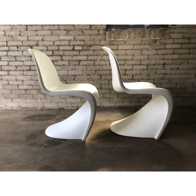 Modern Vitra Panton Matte White S Chairs - A Pair For Sale In Boston - Image 6 of 13