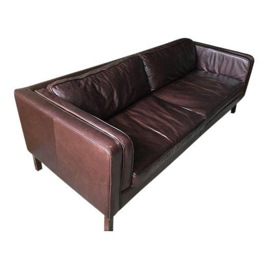 Pottery Barn Austin Espresso Leather Sofa | Chairish