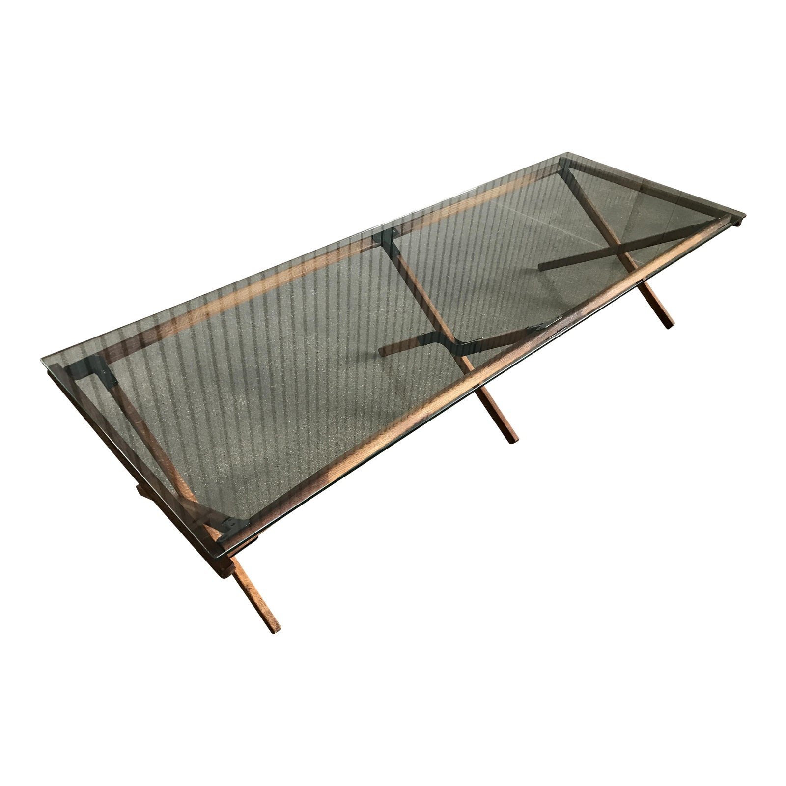 Mid Century Industrial Modern Army Style Camp Cot Coffee Table -