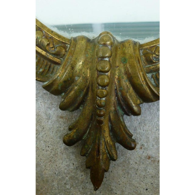 Late 20th Century Vintage Shell Scrolled Top Bronze Mirror For Sale In Miami - Image 6 of 7