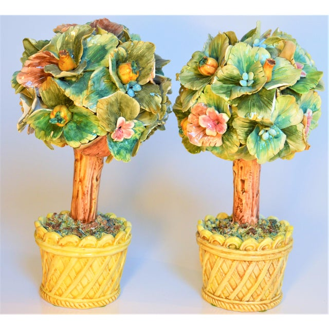 This is a beautiful small set of Italian Majolica Topiary trees. These are incredibly delicate and detailed and hand...