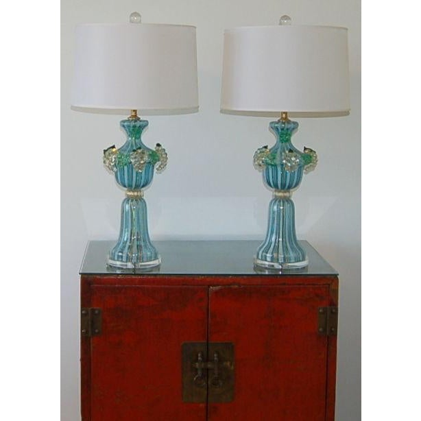 Dino Martens Vintage Murano Glass Table Lamps Turquoise For Sale - Image 10 of 10
