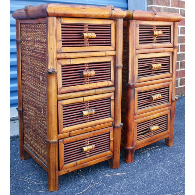 Bamboo Wicker Chests of Drawers / Nightstands - a Pair - Image 4 of 8