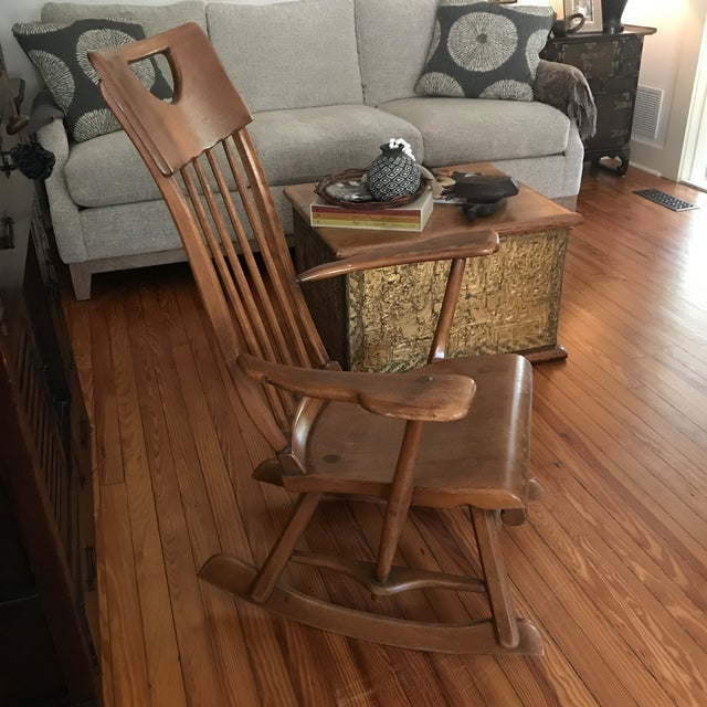 Colonial American style, solid Maple wood, high-back rocking chair designed by Herman DeVries for Sykes Furniture Company,...