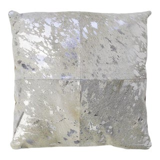 Pasargad Home Forest Collection Cowhide Silver Pillow For Sale