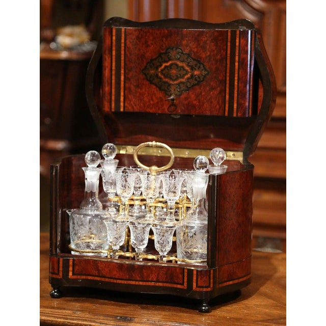 Gold 19th Century French Napoleon III Walnut and Burl Complete Cave a Liqueur For Sale - Image 8 of 13