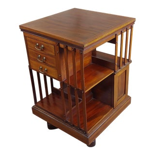 Antique Edwardian Mahogany & Satin Wood Revolving Bookshelf For Sale