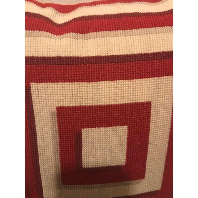 Jonathan Adler Style Vintage Geometric Red Cream Needlepoint Pillow - Image 3 of 5