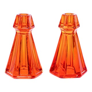 Jeweled Toned Orange Faceted Glass Candle Holders - a Pair For Sale