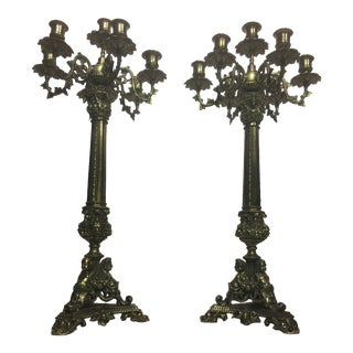 Seven Branch French Style Golden Candelabras - a Pair For Sale