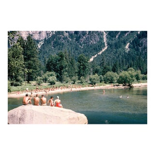 1960s Vintage Yosemite California Swimming Rock Photograph Print