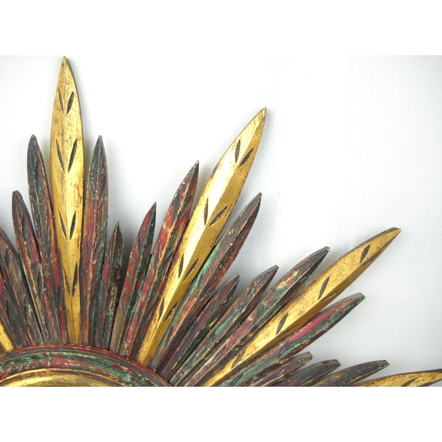 Glass French Carved Wood Starburst Mirror For Sale - Image 7 of 8