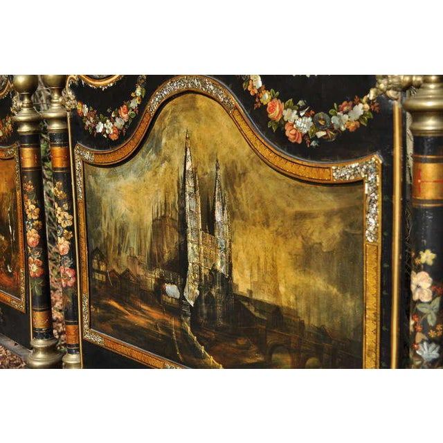 French 19th Century Antique Hand-Painted Mother of Pearl Inlaid Single Beds - a Pair For Sale - Image 3 of 11