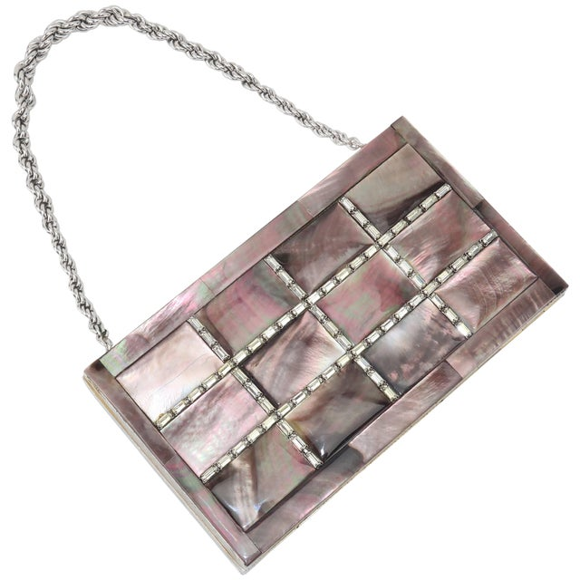 Evans Mother of Pearl Compact Wristlet Handbag, 1950s For Sale