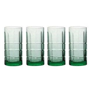 Vintage Anchor Hocking Tartan Flat Iced Tea Tumblers Beverage Drink Glasses - Set of 4 For Sale