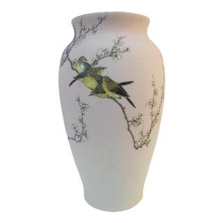 Japanese Takeuchi Chiubei Pale Pink Shark Skin Glaze Meiji Bird & Blossom Vase For Sale