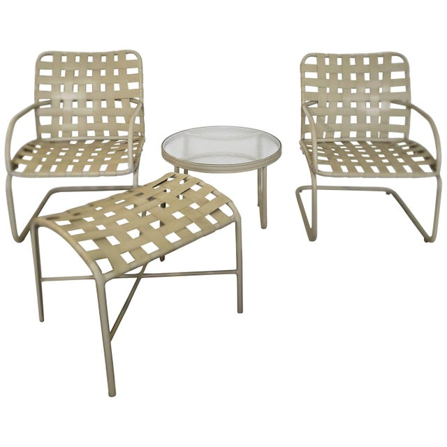 White Mid-Century Modern Brown Jordan Patio Set Pair Bouncy Chair Ottoman Side Table For Sale - Image 8 of 8