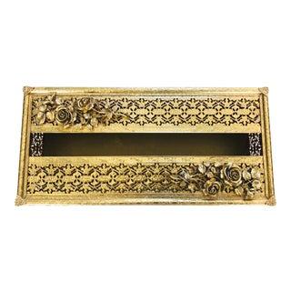 Vintage Gold Brass Filigree/Rose Detail Tissue Box Holder For Sale