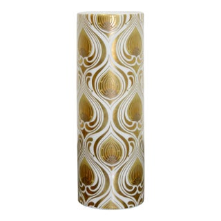 Bjorn Wiinblad for Rosenthal Gold Leaf White Porcelain Vase Vessel, Germany For Sale