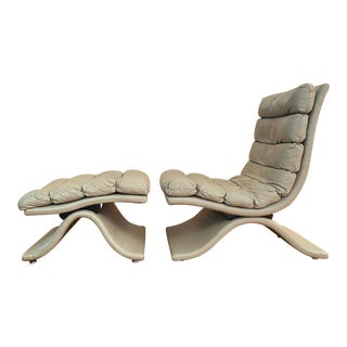 Drexel Leather Lounger With Ottoman For Sale